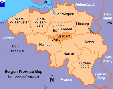 Map of Belgian provinces